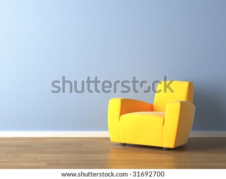 interior design of modern yellow armchair against a blue wall with lots of copy space - stock photo