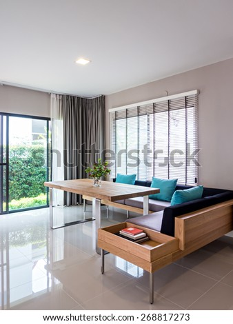 Interior design of neutral modern dining room in a new house - stock photo