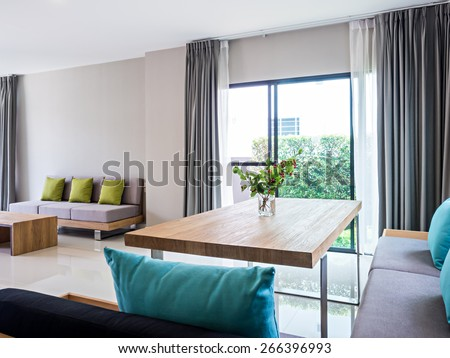 Interior design of neutral modern Living and Dining room - stock photo