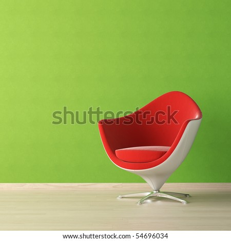 interior design of red chair against a vibrant green wall with copy space on the top left corner - stock photo