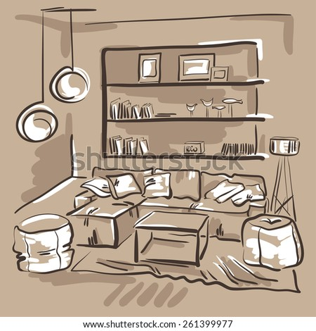Interior design of the living room with big couch, puffs and book shelves. Hand drawn sketch. - stock photo