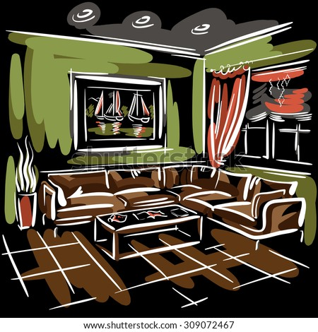Interior design of the living room with big couch, red blinds, green walls and picture with sailboats. Hand drawn sketch. - stock photo