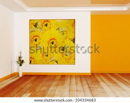 Interior design scene in warm colors with a niche and a vase - stock photo
