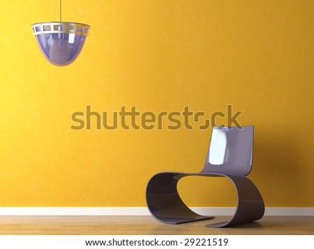 interior design scene of modern purple plastic chair and lamp on orange wall - stock photo
