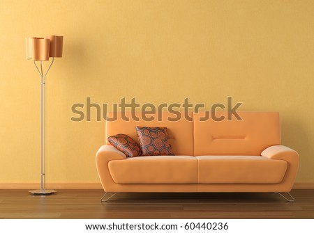 Interior design scene with a modern orange couch and lamp on orange wall - stock photo