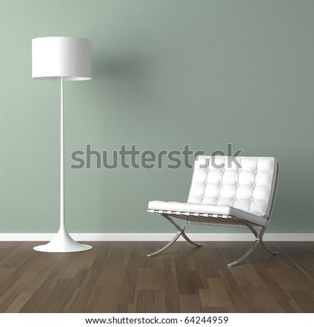 interior design scene with a white modern chair and lamp on a pale green wall - stock photo