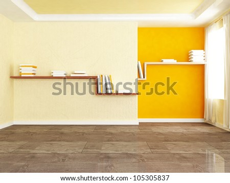 Interior design scene with two bookshelves in the room - stock photo