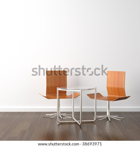 interior design scene with two wooden chairs and a table on a white wall with copy space - stock photo