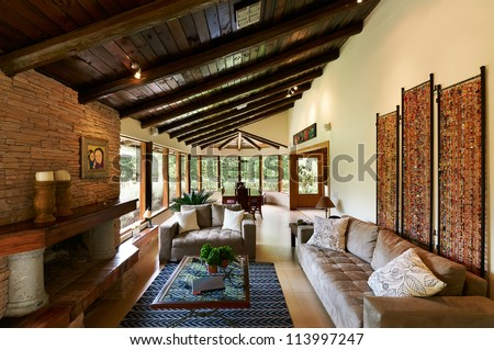 Interior design series: classic rustic living room - stock photo