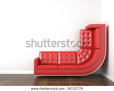 interior design with a bended red couch in a corner white room climbing up the wall with plenty copy space. - stock photo