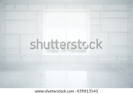 Interior design with built-in empty bookcase, concrete floor and window with city view. 3D Rendering - stock photo