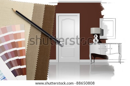 Interior design with illustration and decoration materials - stock photo