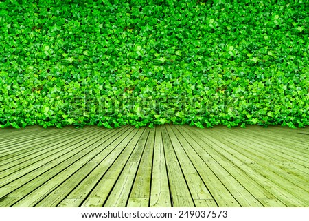 Interior Design with natural, green, leaf wallpaper - stock photo