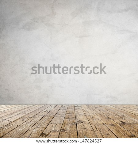 Interior Design With Old Grunge Wallpaper - stock photo