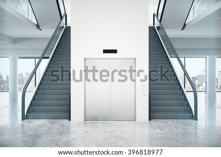 Interior design with two staircases and lift in between. 3D Render - stock photo