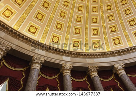Interior detail of the United States Capitol building, Washington, DC. - stock photo