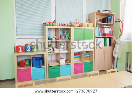 Interior details kindergarten - stock photo