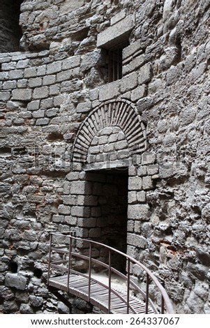 Interior details of tower Yedikule Fortress in Istanbul, Turkey - stock photo