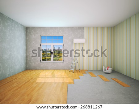 Interior during repair work 3D rendering - stock photo