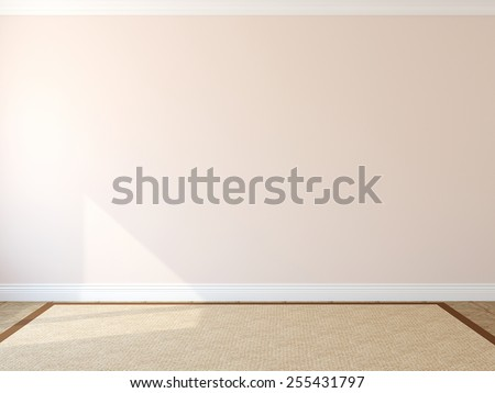 Interior. Empty room with rug. 3d render. - stock photo
