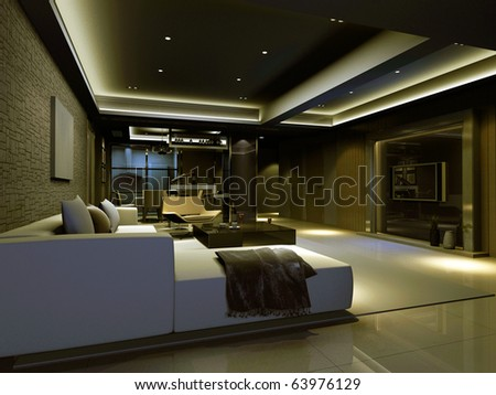 Interior fashionable living-room 3D rendering - stock photo