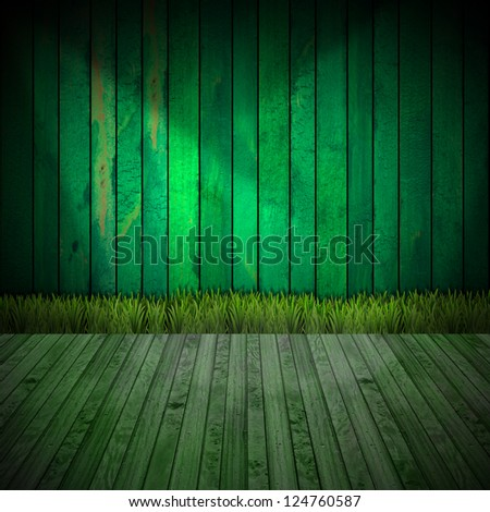 Interior Green Room / Green wooden grunge interior with green grass on wood floor - stock photo