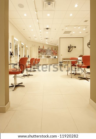 interior hair salon - stock photo