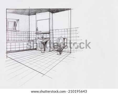 interior hand drawn perspective of an apartment bathroom - stock photo