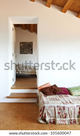 interior home, room with single bed - stock photo