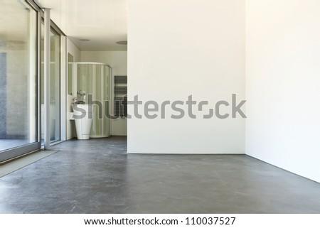 interior hotel, white room with bathroom - stock photo