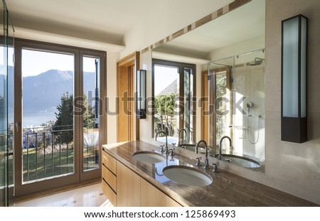 Interior, house, view of the bathroom - stock photo