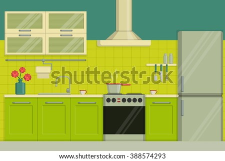 Interior illustration of a modern lime colored kitchen including furniture, oven, kitchen hood, utensils, fridge. Raster version - stock photo