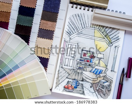 Interior illustration sketch with material color scheme on white table - stock photo