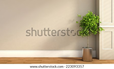interior in classic style with plant. 3D illustration - stock photo