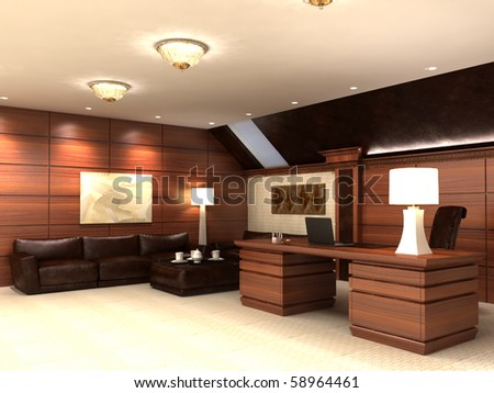 Interior in modern style, in light tones and with wooden elements. Kind on sofas and a table. - stock photo