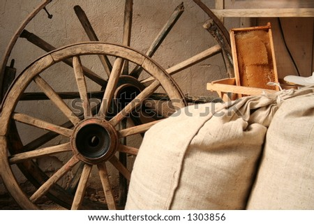Interior in old mill - stock photo