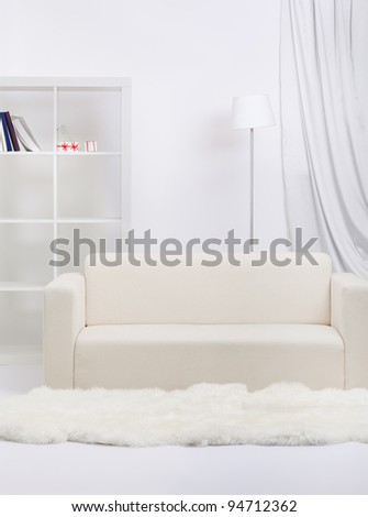 interior indoor shot of apartment in tones of gray. sofa, shelf with books, lamp and white fur on floor - stock photo