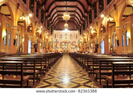 Interior inside the cathedral of the immaculate conception, Chanthaburi, Thailand  - stock photo