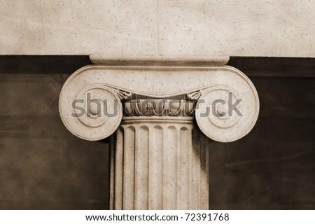 Interior ionic pillar in vintage sepia - stock photo