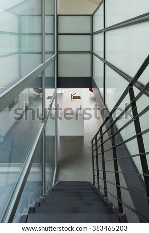 Interior, iron stairs of a modern home - stock photo