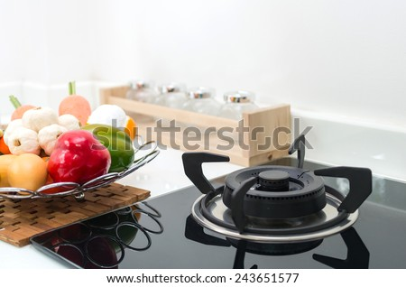 Interior kitchen, detail of electric stove - stock photo