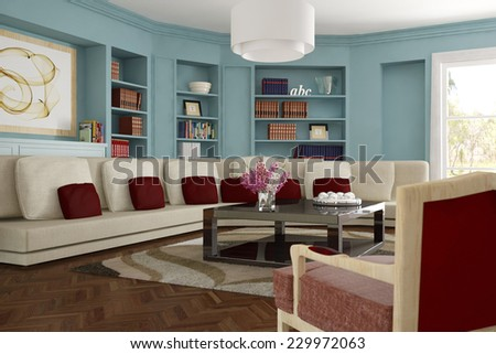 Interior living room with sofa and carpet and shelves with many books (3D Rendering) - stock photo