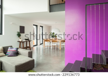 interior, lovely apartment furnished, living room view - stock photo