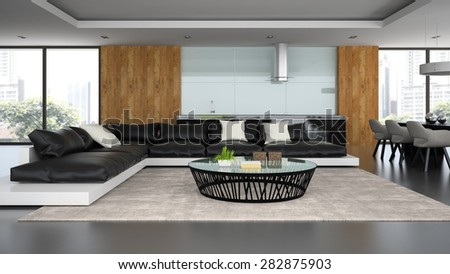 Interior modern design loft with black sofa 3D rendering  - stock photo