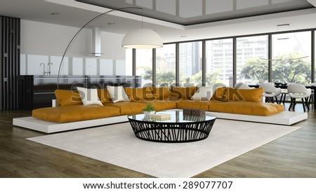 Interior modern design loft with orange sofa 3D rendering  - stock photo