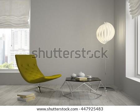 Interior modern design room 3D rendering - stock photo