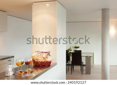 Interior modern house, aperitif with pastries - stock photo