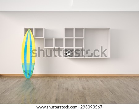 Interior modern room, wooden floor with surf board an soccer ball. 3D illustration - stock photo