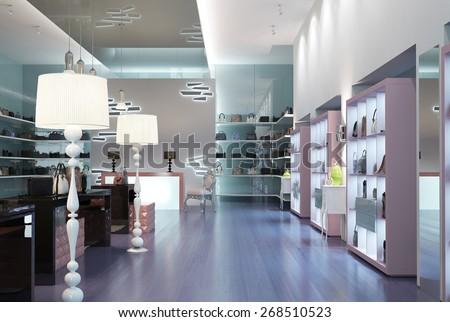 Interior modern store. 3d render - stock photo