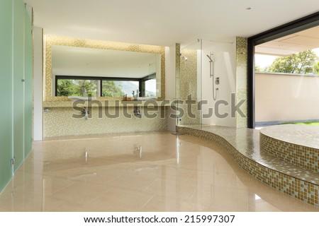 interior modern villa, beautiful bathroom - stock photo
